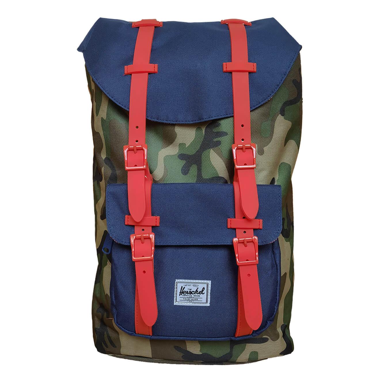5a6eebe3bae Herschel Little America Settlement Camo Navy   Red - Retro Bags